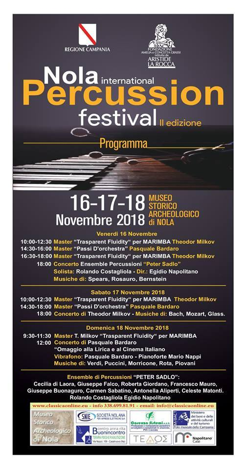 percussion festival, Nola International Percussion Festival dal 16 al 18 novembre 2018